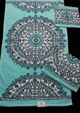 GORGEOUS 3 Pc C HOME Blue Green Medallion Floral Plush Velour Bath Towel Set NEW