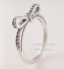 SPARKLING BOW Authentic PANDORA Sterling Silver RING Sz 6 (52) 190906CZ NEW! NR!