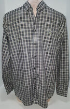 LACOSTE Men's Long Sleeve Button Front Gray White Shirt Blouse Size 16 S Small