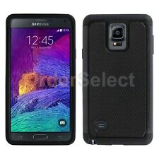 Hybrid Rugged Rubber Matte Hard Case Cover Skin for Samsung Galaxy Note 4 Black