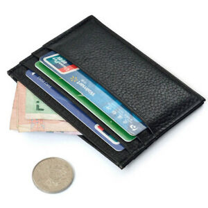 Slim Credit Card Holder Wallet ID Card Purse Bag Pouch Black Artificial Leather