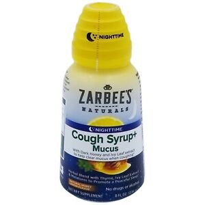 Zarbee's Naturals Nighttime Cough Syrup + Mucus Natural Honey Lemon 08/2021