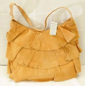 Ruffled Suede Leather Bag Purse JP