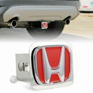 """Red Honda Polished Stainless Steel Hitch Cover Cap For 2"""" Trailer Tow Receiver"""