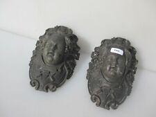 Antique Brass Billiards Snooker Pocket Hole Victorian Old Rococo Cherub Face x2