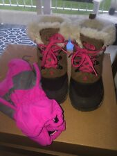 The North Face Girls McMurdo Brown & Pink Insulated Winter Boots 12 & Mittens 3T