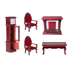 5 Pieces 1:12 Doll House Miniature Wood Living Room Furniture Set Items Red