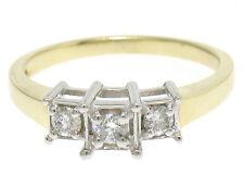 Antiguo 14k Oro Amarillo 0.19ctw Ilusion Set Diamante Brillante Redondo 3 Anillo