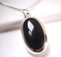 Reversible Black Onyx and Mother of Pearl 925 Sterling Silver Necklace