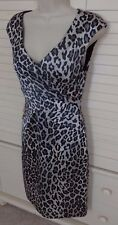 *Cache Sexy Animal Print Molded Cups Stretch Satin Fitted Sheath Dress *Sz 6*