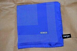 $145 NWOT TOM FORD Royal BLUE w/ White PINDOTS silk pocket square handkerchief