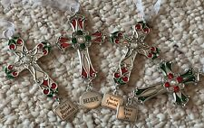 Lot of 4 Ganz Silver Tone Metal w/Rhinestones Crosses Christmas Tree Ornament BN