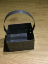 Vintage Tin  Basket Basket Weave Design with Tin Handle USA
