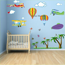 Balloon Airplane Wall Stickers Jungle Tree Nursery Baby Kids Bedroom Decal Art