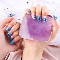 24Pcs Acrylic Design French False Nails Full Cover Nail Tips Art Crystal Diamond