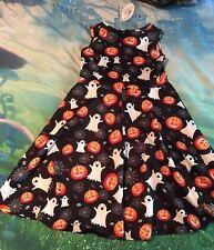 Halloween Dress Girls Size Large Sleeveless Party Wear NEW Pumpkins Ghosts Webs!