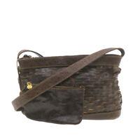 FENDI Ostrich Skin Shoulder Bag Brown Auth ar3551