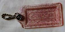 NEW Coach X Large clear with pink sparkle hang tag charm accessory