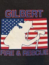 Gilbert Arizona Fire & Rescue Logo Gray T- Shirt Mens Size Large