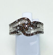 White & Amber Diamond Ring, Size N, Sterling Silver