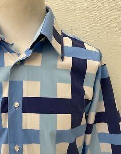 Guide London - Men's Blue Bold Check Long Sleeve Cotton Shirt - XL