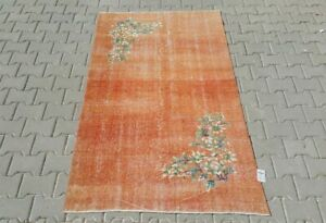 Turkish 4x7,Vintage Rug,Oushak,anatolian,ORANGE,Carpet,Bohemian,handmade,wool