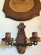 ANTIQUE CARVED WOOD & METAL CHAIN 2 TORCH STYLE CANDLE HOLDER WALL MOUNT!!.🔥🕯