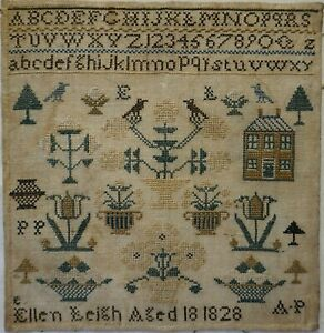 SMALL EARLY 19TH CENTURY HOUSE, MOTIF & ALPHABET SAMPLER BY ELLEN LEIGH - 1828