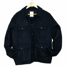 GAP Mens XL Navy Blue Wool Rich Ribbed Hem Collared  Button Up New Coat Jacket