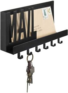 MyGift Matte Black MAIL Cutout Metal Entryway Mail Wall Shelf with 6 Key Hooks
