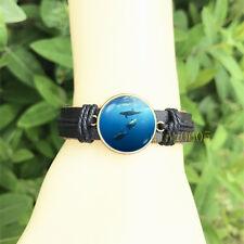 Dolphin Marine Black Bangle 20 mm Glass Cabochon Leather Charm Bracelet