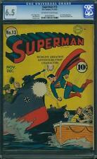 Superman #13 CGC 6.5 DC 1941 WW II Cover! Lex Luthor! JLA! Batman! E9 1 214  cm