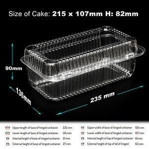 10-300 Plastic Disposable Clear Boxes for Food CAKE SIZE- 215 x 107 x 82mm - K38