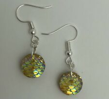Mermaid Egg / Dragon Egg Scales Silver Plt Charm Earrings Yellow AB I030