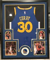 Steph Curry Golden State Warriors Autographed 34x42 Framed Jersey w/COA