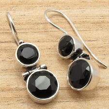 Onyx Hinge Earrings! Latest Design! Silver Plated Jewelry! Natural Black