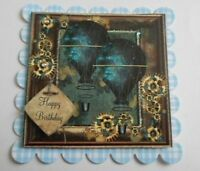 PK 2 STEAMPUNK BALLOON BIRTHDAY EMBELLISHMENT TOPPERS FOR CARDS AND CRAFTS
