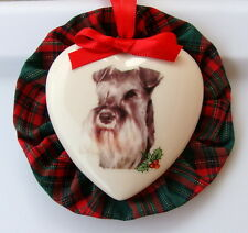 Schnauzer Dog Christmas Ornament, Heart Shaped, Handmade in the USA!