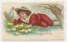 1908 RECLINING CHILDREN 3 OLD MATCHING EMBOSSED POSTCARDS PC6740