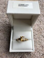 Citrine And Diamond 9k Gold Ring Size N