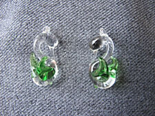 2 VINTAGE CLEAR & GREEN MURANO GLASS SWAN CHARMS PENDANTS UNUSED