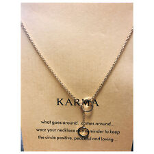 "Karma 2 Rings Pendant Necklace Gold Paved With WHISPERS Reminder Card 16+2"" Gold"