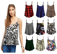 New Womens Ladies Sleeveless Printed Cami Swing Top Vest Mini Dress Plus Size