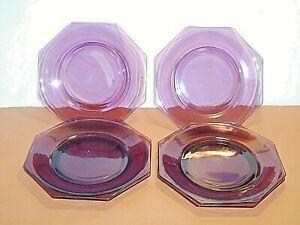 "Set of 6 Hazel Atlas Moroccan Purple Amethyst 9-3/8"" Octagon Dinner Plates  ***"