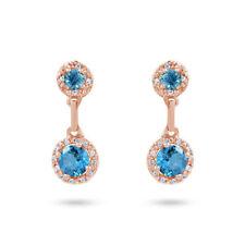 Pendientes de joyería con gemas azules naturales diamante