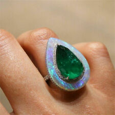 New Womans Pear Cut Fire Opal Natural Emerald Ring Party Jewelry Gifts
