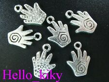 60 Pcs Tibetan silver spiral hand charms A270