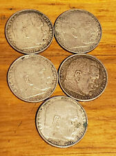 Lot of 5 German 2 Mark F-D-A-B-E -Coin History WWII WAR SILVER