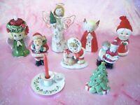 VTG LOT 9 Christmas Santa Angels Kid Tree Candle Holder Ornament Figurines JAPAN