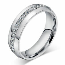 Womens Ladies Stainless Steel Sparkly Rhinestone Diamonte Silver Dress Ring Band